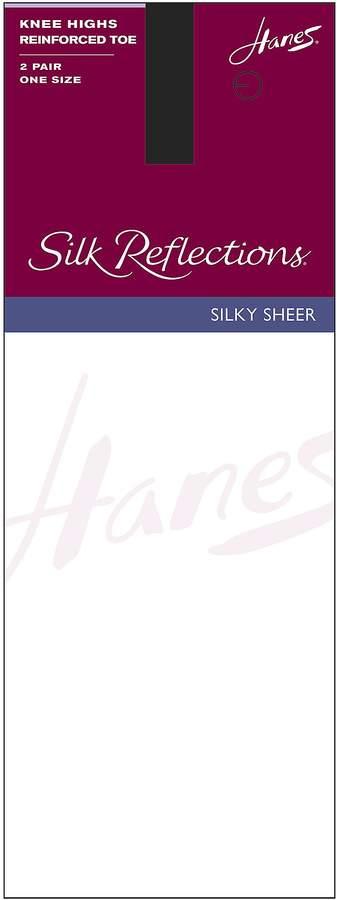 Hanes Silk Reflections Reinforced-Toe Knee Highs 2-Pack