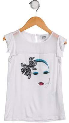 Armani Junior Girls' Short Sleeve Graphic Top w/ Tags