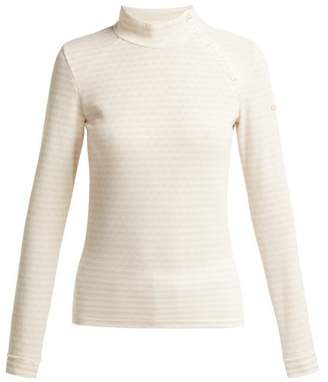 Capranea - Striped Knitted High Neck Sweater - Womens - Light Cream