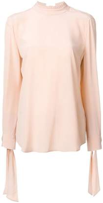 Equipment tied neck and sleeve blouse