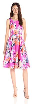 Donna Morgan Women's Sleeveless Printed Twill Longer-Length Fit-And-Flare Dress $108.31 thestylecure.com