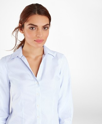 Brooks Brothers Non-Iron Tailored-Fit Striped Three-Quarter-Sleeve Supima Cotton Stretch Shirt