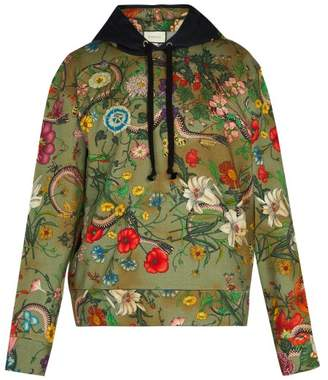 Gucci Floral Snake Print Cotton Jersey Hooded Sweatshirt - Mens - Green