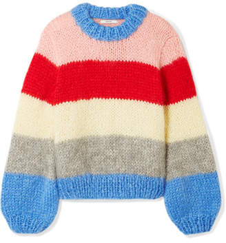 Ganni Julliard Striped Mohair And Wool-blend Sweater - Blue