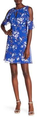 Kensie Cold Shoulder Floral Print Dress
