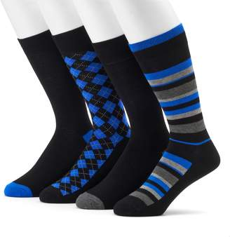 Croft & Barrow Men's 4-Pack Opticool Striped & Argyle Dress Socks