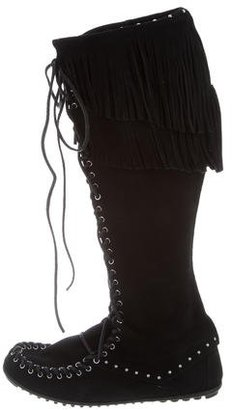 Minnetonka Fringe-Embellished Suede Knee-High Boots w/ Tags $125 thestylecure.com