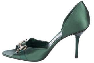 Gucci Horsebit Peep-Toe d'Orsay Pumps
