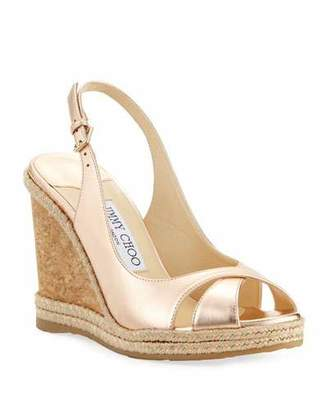 Jimmy Choo Amely 105mm Metallic Leather Cork Wedge Sandals