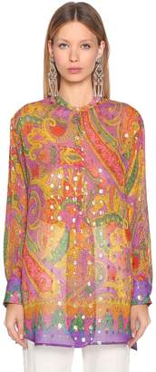 Etro Printed Embellished Silk Georgette Shirt