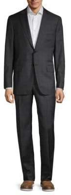 Isaia Tonal Plaid Wool Suit