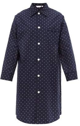 Derek Rose Nelson Geometric Cotton Poplin Pyjama Shirt - Mens - Blue