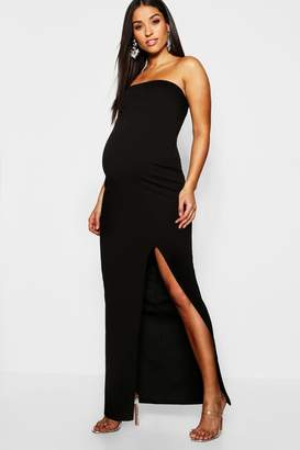 boohoo Maternity Bandeau Split Maxi Dress
