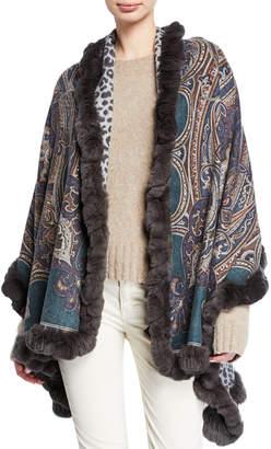 Gorski Cashmere Double-Face Stole w/ Fur Trim
