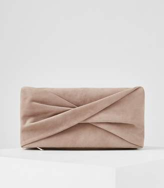 Reiss BEAU SUEDE CLUTCH BAG Clay