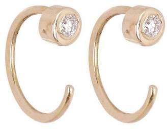 Melissa Joy Manning White Diamond Gold Hug Hoop Earrings