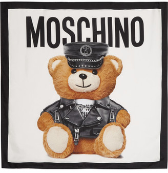 Moschino - Teddy Printed Silk Scarf - White $220 thestylecure.com