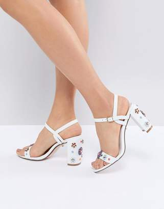 Dune Summer Leather Embellished Floral Going Out Heeled Shoes