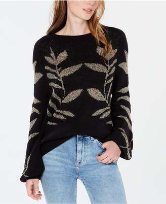 Lucky Brand Metallic Leaf-Pattern Sweater