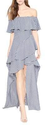 Halston Striped Off-the-Shoulder Asymmetrical Hem Dress