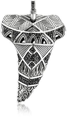 Thomas Sabo Blackened Sterling Silver Maori Tooth Pendant w/Black Zirconia