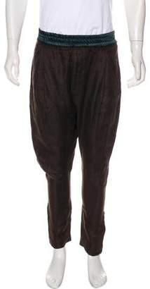 Haider Ackermann Linen Drop Crotch Cropped Pants