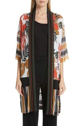 Fuzzi Mixed Print Tulle & Knit Cardigan