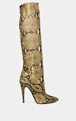Saint Laurent Women's Python Knee Boots - Yellow