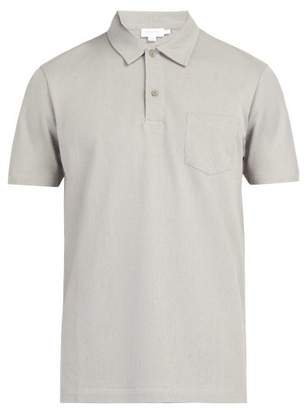 Sunspel Riviera Cotton Pique Polo Shirt - Mens - Grey