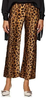 Philosophy di Lorenzo Serafini Women's Leopard-Print Velvet Flared Crop Trousers