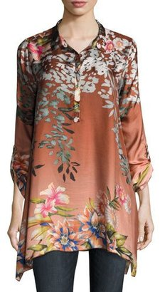 Johnny Was Pacheo Long-Sleeve Collared Silk Twill Tunic $220 thestylecure.com