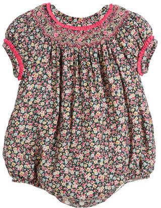 Luli & Me Floral Ruffle-Trim Bubble Bodysuit, Size 6-24 Months