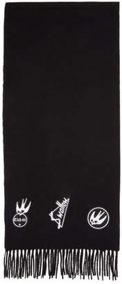 McQ Black Skater Swallow Badge Scarf