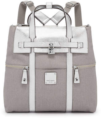 Henri Bendel Jetsetter Convertible Canvas Metallic Backpack