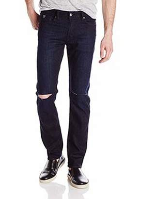 GUESS Men's Slim Straight Crushed Wash Jean Knee Slits