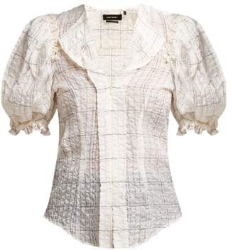 Isabel Marant Abies Puff Sleeve Organza Blouse - Womens - Ivory Multi