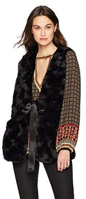 Max Studio Women's Faux Fur Vest with Tie