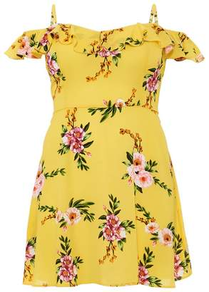 Quiz Curve Yellow Floral Print Skater Dress