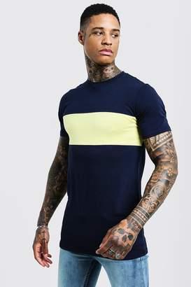 boohoo Muscle Fit Longline Colour Block Tee