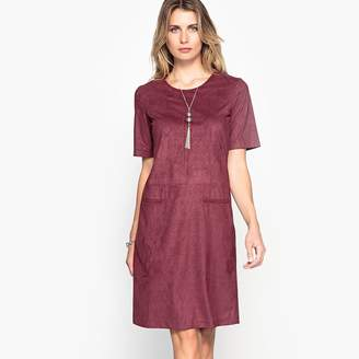 Anne Weyburn Faux Suede Dress with Jacquard Pattern