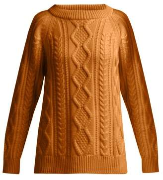 Queene And Belle - Clara Cable Knit Cashmere Sweater - Womens - Brown