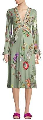 Etro V-Neck Floral-Print Tie-Sleeve Midi Dress