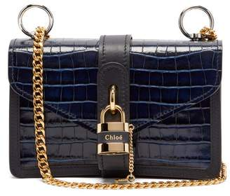 Chloé Aby Mini Crocodile Embossed Leather Shoulder Bag - Womens - Navy