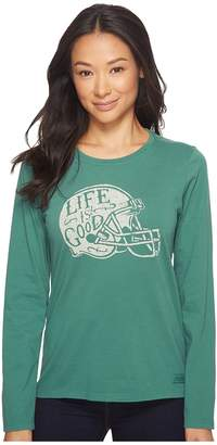 Life is Good Football Helmet LIG Long Sleeve Crusher Tee Women's Long Sleeve Pullover