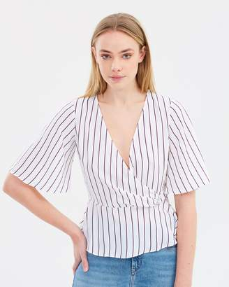 Miss Selfridge Striped D-Ring Wrap Blouse