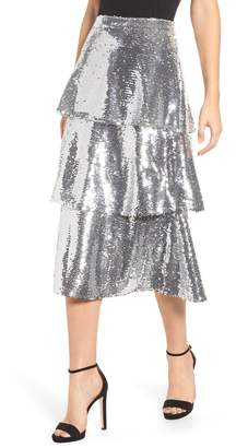 Endless Rose Tiered Sequin Midi Skirt