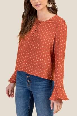 Alexandria Flounce Sleeve Button Blouse - Cinnamon