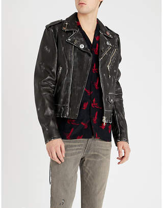 Amiri Lost Boy printed leather biker jacket