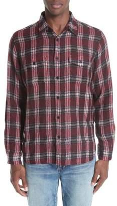Saint Laurent Gauze Check Wool Flannel Sport Shirt