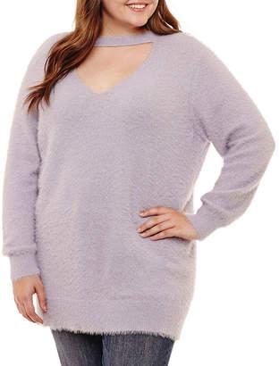Arizona Fuzzy Cut Out Neckline Sweater-Juniors Plus